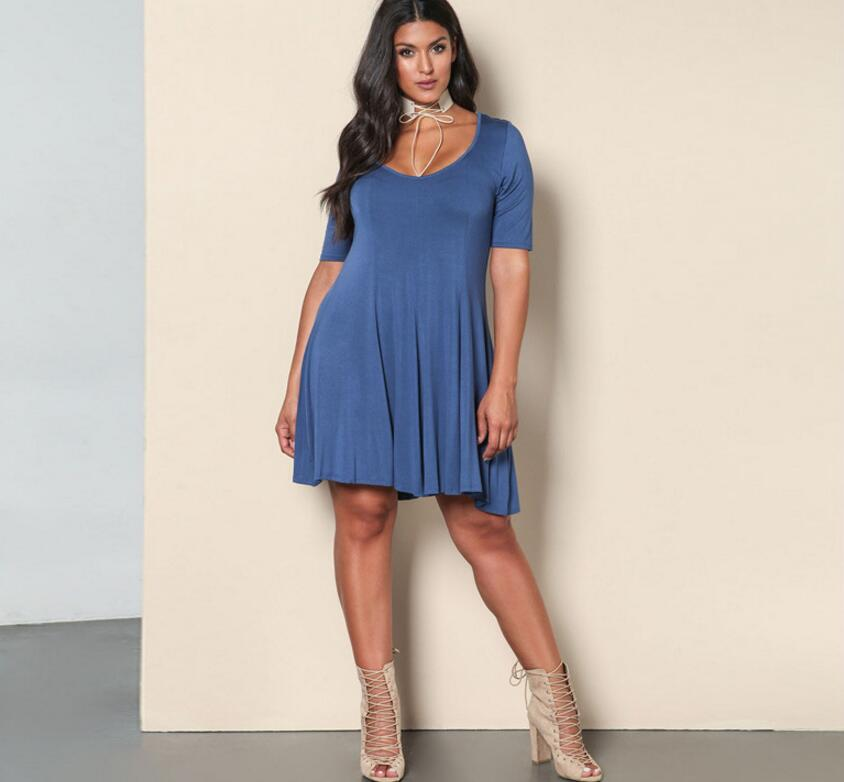 SZ60018 Fashion O-Neck Half Sleeve Casual A-Line Womens Plus Size Dress
